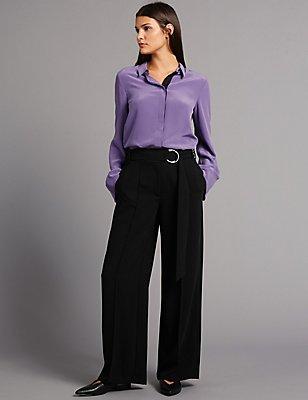 Belt Detail Wide Leg Trousers, BLACK, catlanding