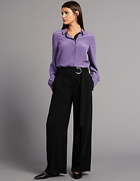 Belt Detail Wide Leg Trousers, BLACK, catlanding
