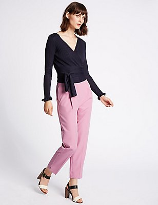 Pleated Tapered Leg Trousers, PINK, catlanding