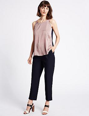 Pantalon plissé coupe fuselée, BLEU DE MINUIT, catlanding
