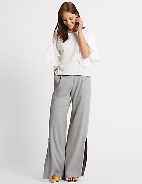 Linen Rich Split Hem Wide Leg Trousers, GREY, catlanding