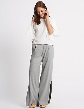 Pantalon large en lin à ourlet fendu, GRIS, catlanding