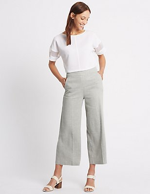 Linen Rich Wide Leg Trousers, GREY, catlanding