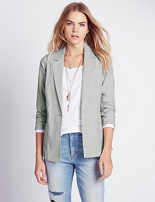 Cotton Rich Striped Blazer with Linen, LIGHT GREY MIX, catlanding