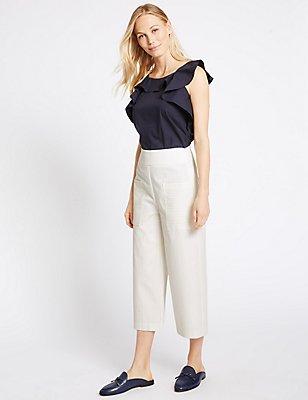 Cotton Rich Striped Wide Leg Trousers, IVORY MIX, catlanding