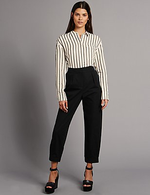 Pure Cotton Cuffed Hem Tapered Leg Trousers, BLACK, catlanding