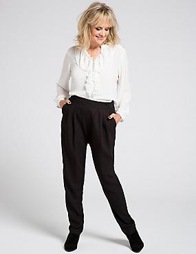 Crepe Tapered Leg Trousers, BLACK, catlanding