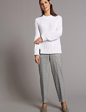 Checked Tapered Leg Trousers, GREY MIX, catlanding