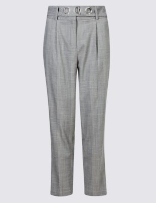 Однотонные зауженные брюки с люверсами на поясе M&S Collection T596408
