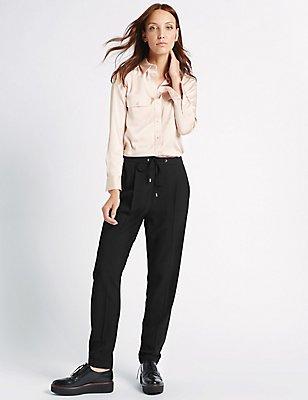 Pantalón tapered con cordón ajustable , NEGRO, catlanding