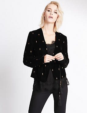 Long Sleeve Textured Velvet Jacket, BLACK MIX, catlanding