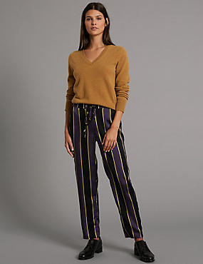 Striped Tapered Leg Trousers, BLACK MIX, catlanding
