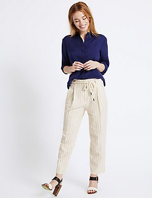 PETITE Linen Rich Tapered Leg Trousers, STONE MIX, catlanding
