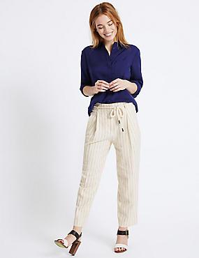 PETITE– Pantalon fuselé en lin, PIERRE ASSORTI, catlanding
