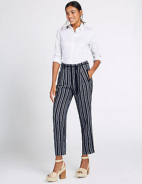 Linen Rich Striped Tapered Leg Trousers, BLUE MIX, catlanding