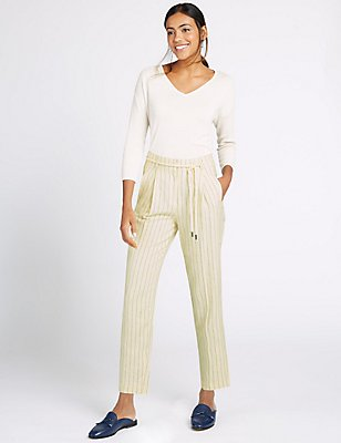 Linen Rich Striped Tapered Leg Trousers, STONE MIX, catlanding