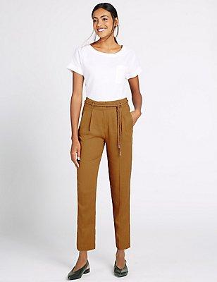 Linen Rich Belted Tapered Leg Trousers, TAN, catlanding