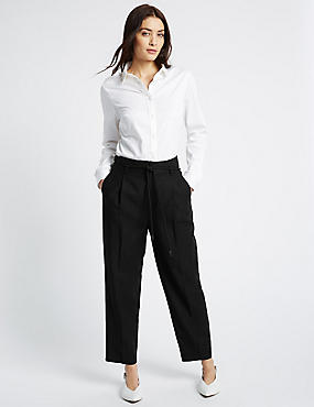 Linen Rich Belted Tapered Leg Trousers, BLACK, catlanding