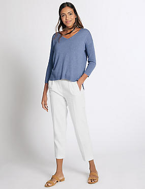 Linen Rich Belted Tapered Leg Trousers, WHITE, catlanding