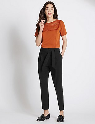 Cotton Blend Belted Tapered Leg Trousers, BLACK, catlanding