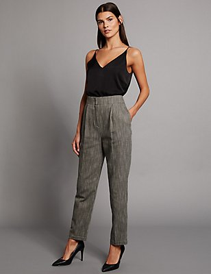 Cotton Rich Textured Tapered Leg Trousers, GREY MIX, catlanding