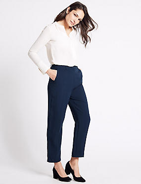Tapered Leg Trousers, NAVY, catlanding