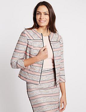 Striped Front Zip Jacket, PINK MIX, catlanding