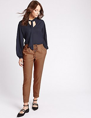 Drawstring Tapered Leg Trousers, CAMEL, catlanding