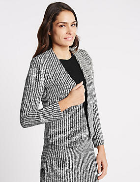 Textured Jersey Jacket, BLACK MIX, catlanding