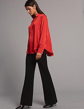 Ponte Slim Bootcut Trousers, BLACK/BLACK, catlanding