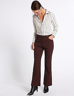 Pantalon bootleg coupe slim, CHÂTAIGNE FONCÉ, catlanding