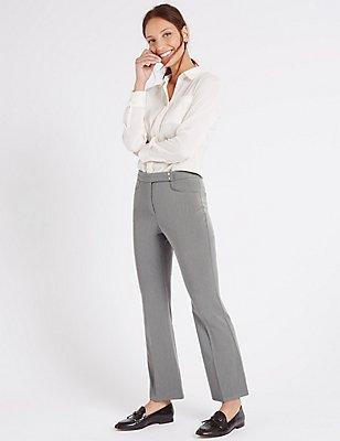 Popper Detail Slim Bootcut Trousers, , catlanding