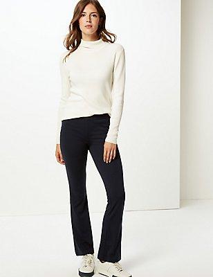 Slim Bootcut Trousers, NAVY, catlanding