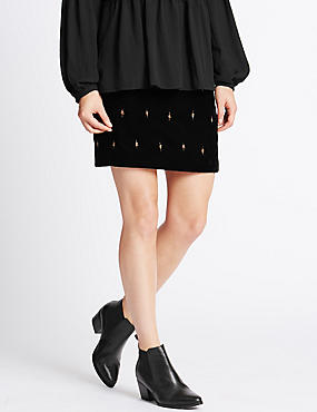 Velvet Straight Skirt, BLACK MIX, catlanding