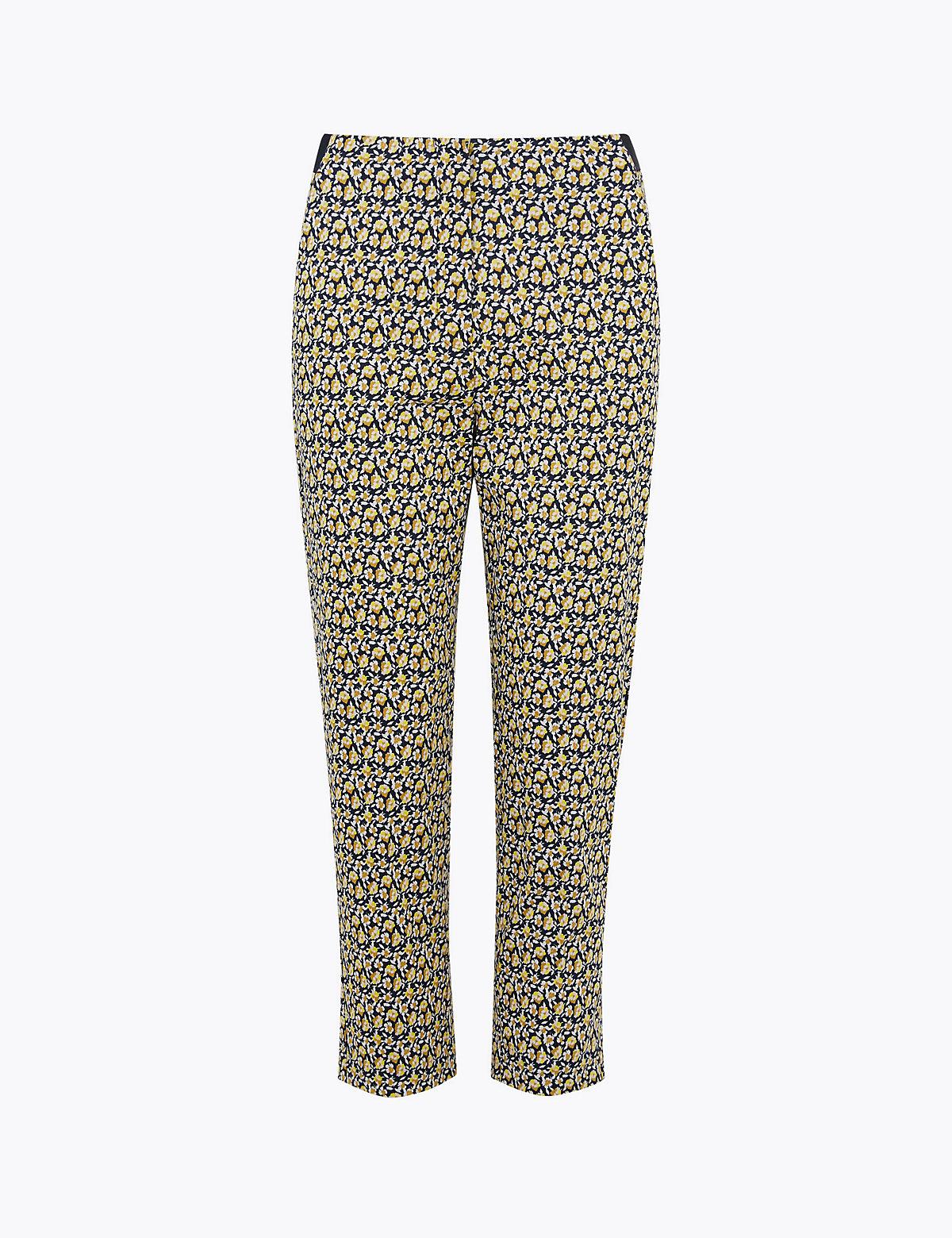 Узкие укороченные брюки Mia из хлопка с цветочным принтом
