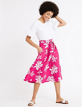 Floral Print Tie Front A-Line Midi Skirt, FUCHSIA MIX, catlanding