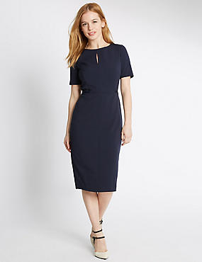 PETITE Grosgrain Trim Shift Dress, NAVY, catlanding