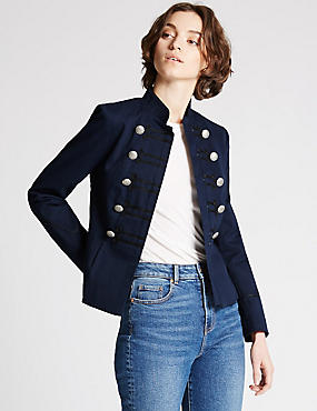 Military Bandstand Jacket, NAVY MIX, catlanding