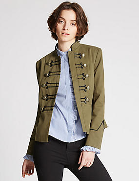 Military Bandstand Jacket, KHAKI MIX, catlanding
