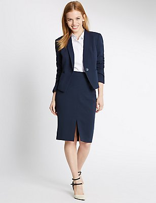 PETITE Grosgrain Trim Pencil Skirt  , NAVY, catlanding