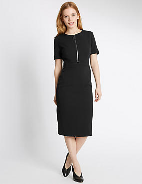 PETITE Zipped Short Sleeve Shift Dress, BLACK, catlanding
