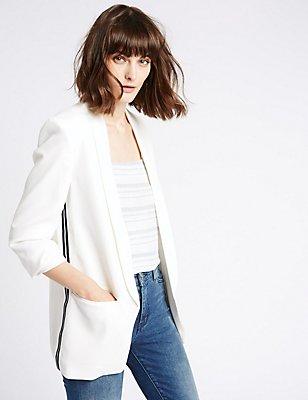 Open Front 2 Pocket Blazer, SOFT WHITE, catlanding