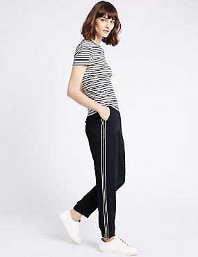 Pantalon fuselé avec rayure sur le côté, BLEU MARINE, catlanding
