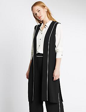 PETITE Contrast Piped Waistcoat, BLACK MIX, catlanding