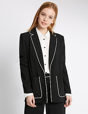 PETITE Contrast Piped Jacket, BLACK MIX, catlanding