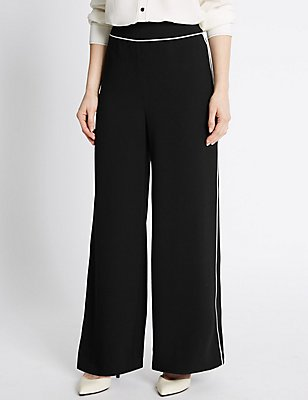 PETITE Contrast Piping Wide Leg Trousers, BLACK MIX, catlanding