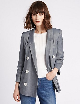 Linen Blend Double Breasted Chambray Blazer, BLUE MIX, catlanding