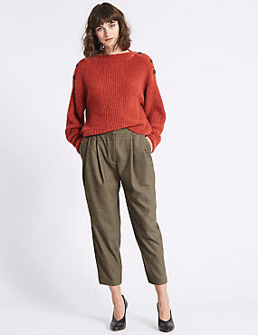 Checked Tapered Leg Trousers , GREY, catlanding
