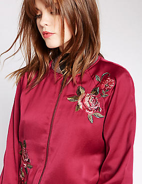 Embroidered Bomber Jacket, BURGUNDY MIX, catlanding
