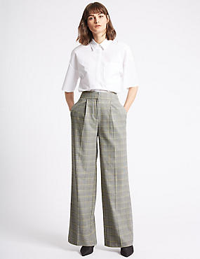 Checked Wide Leg Trousers, STORM, catlanding